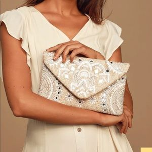 Lulus Beige & Silver Embroidered Clutch